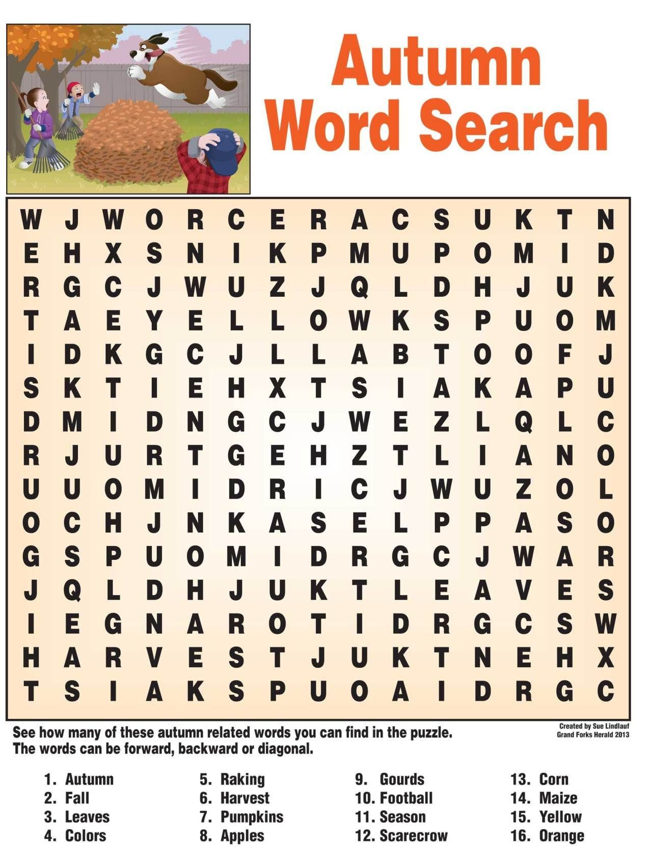 Autumn Word Search Fall Words Kids Learning Activities Fall Word Search