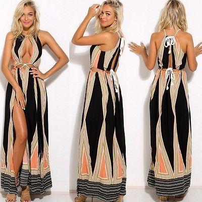 d9198ccccfc8 Women Summer Boho Lace Long Maxi Evening Cocktail Party Beach Dresses  Sundress