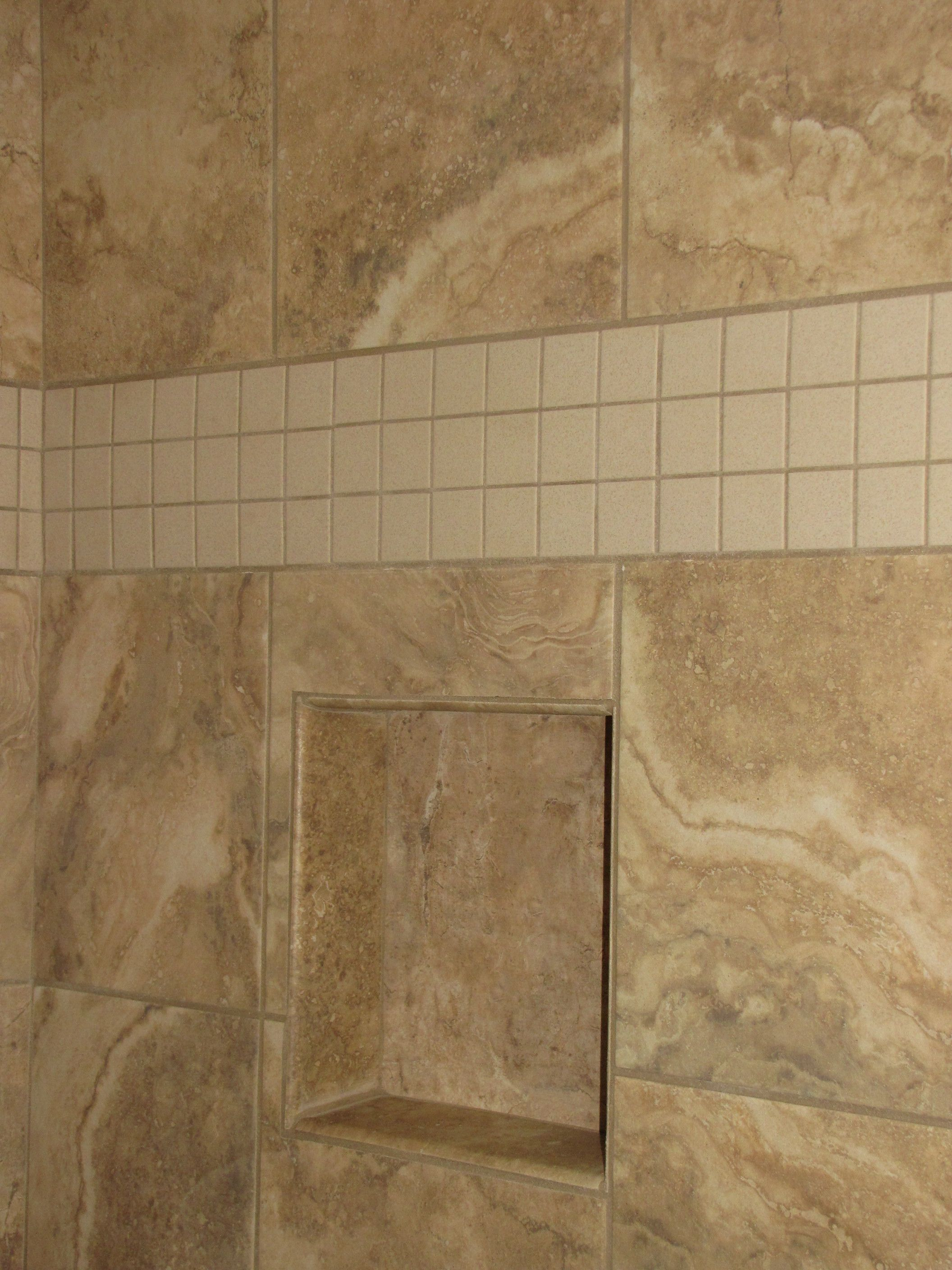 Standard tile travertino royal noce tile with upgrade accent of standard tile travertino royal noce tile with upgrade accent of 3 rows of dailygadgetfo Gallery