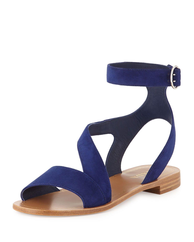 Prada Suede Ankle-Wrap Sandal