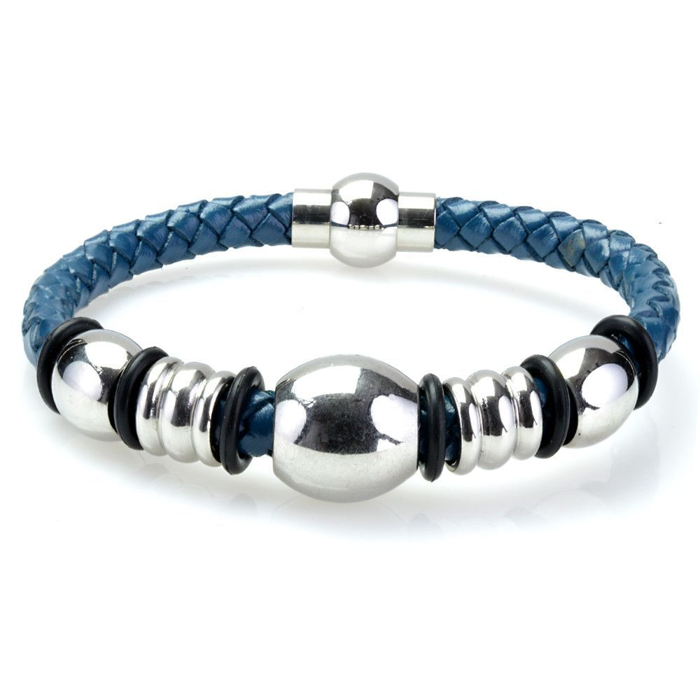 Braided dark blue leather mens bracelet mm inches with
