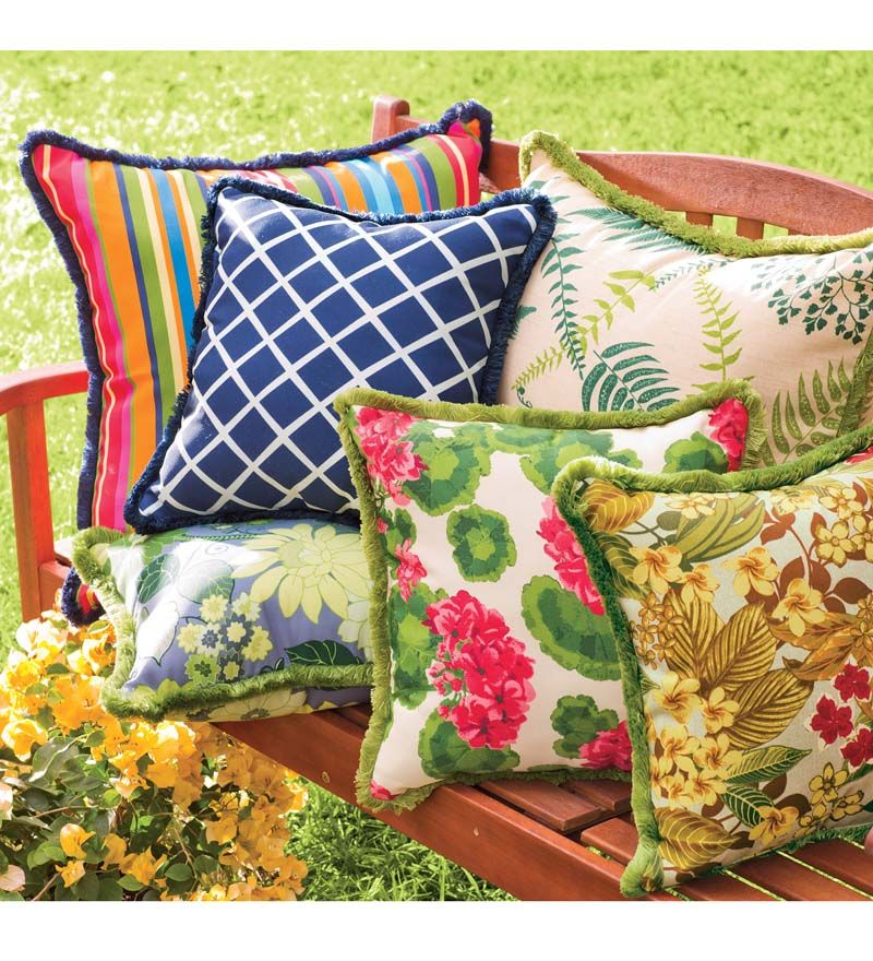 Outdoor Fringe Throw Pillow 15 26quot Sq Throw Pillows Outdoor Throw Pillows Pillows