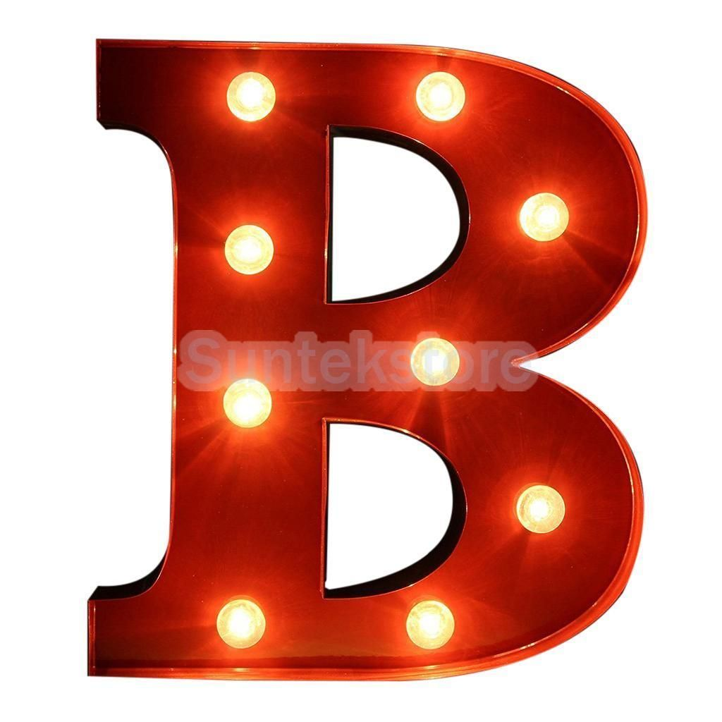 12inch Red Block Freestanding Circus Style Alphabet Led Light Up Letter B