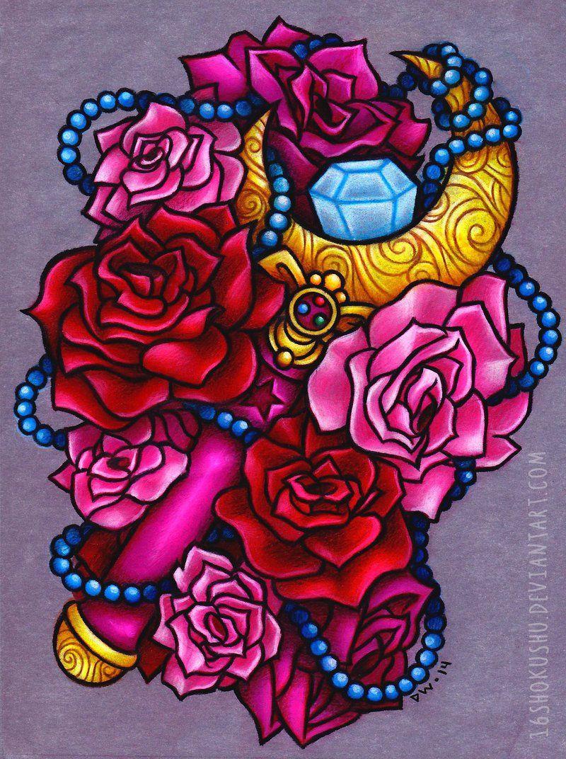 Zimmerwand graffiti crescent moon wand sailor moon tattoo  commission by shokushu