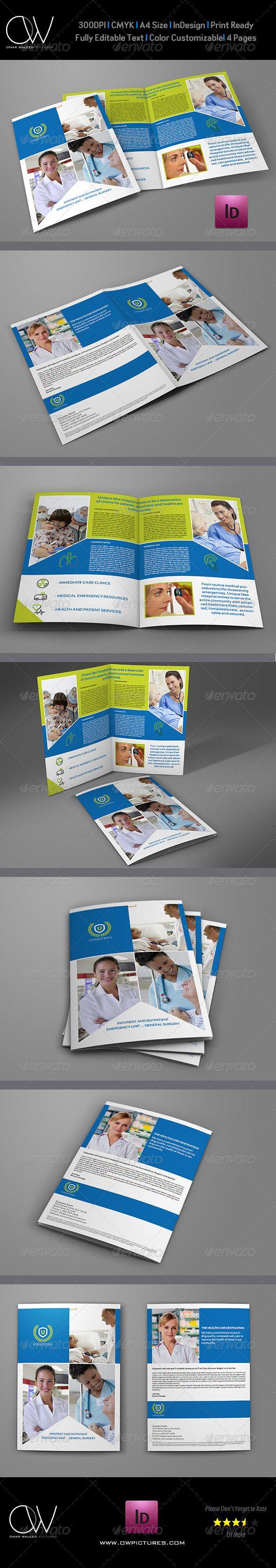 Hospital BiFold Brochure Template Brochure Template Brochures - Bi fold brochure template indesign
