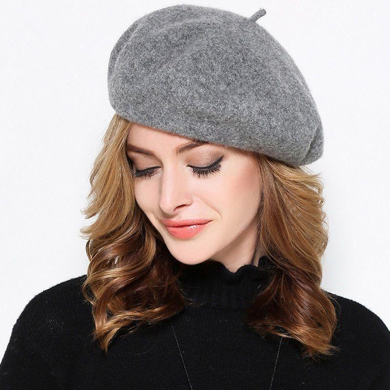 Woman Autumn Winter Hat London Blue Beret Wool Hat France Beret