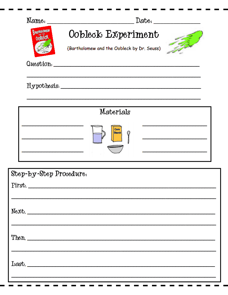 worksheet Oobleck Worksheet free oobleck experiment worksheets use during chapter on matter to demonstrate how changes