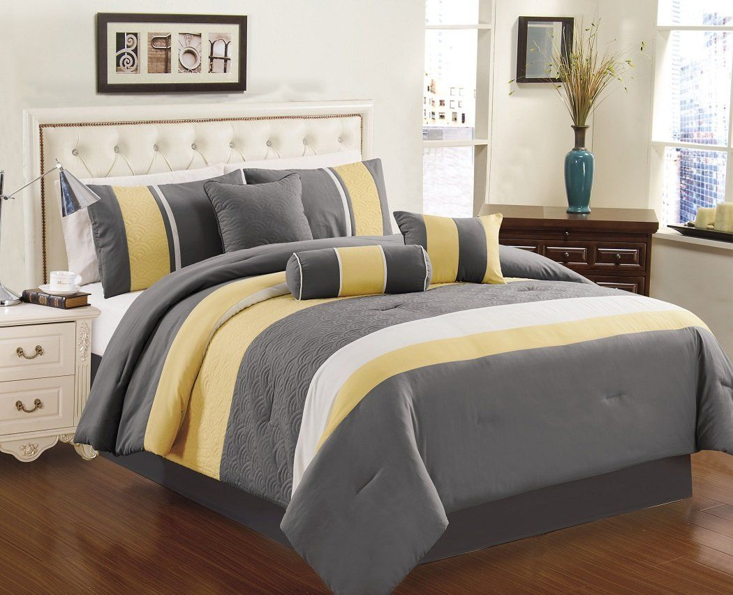 Best Yellow Grey White Simple Modern Bedding Sets Yellow 640 x 480