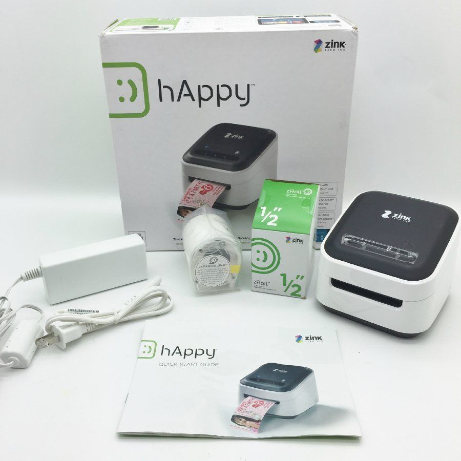 "zink happy wireless color printer smart app 1/2"" zroll for apple"