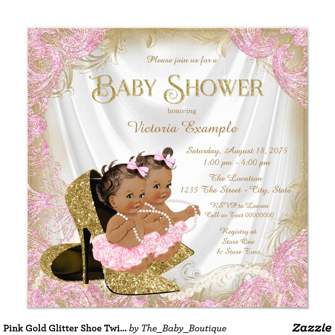 Pink Gold Glitter Shoe Twin Baby Shower Invitation