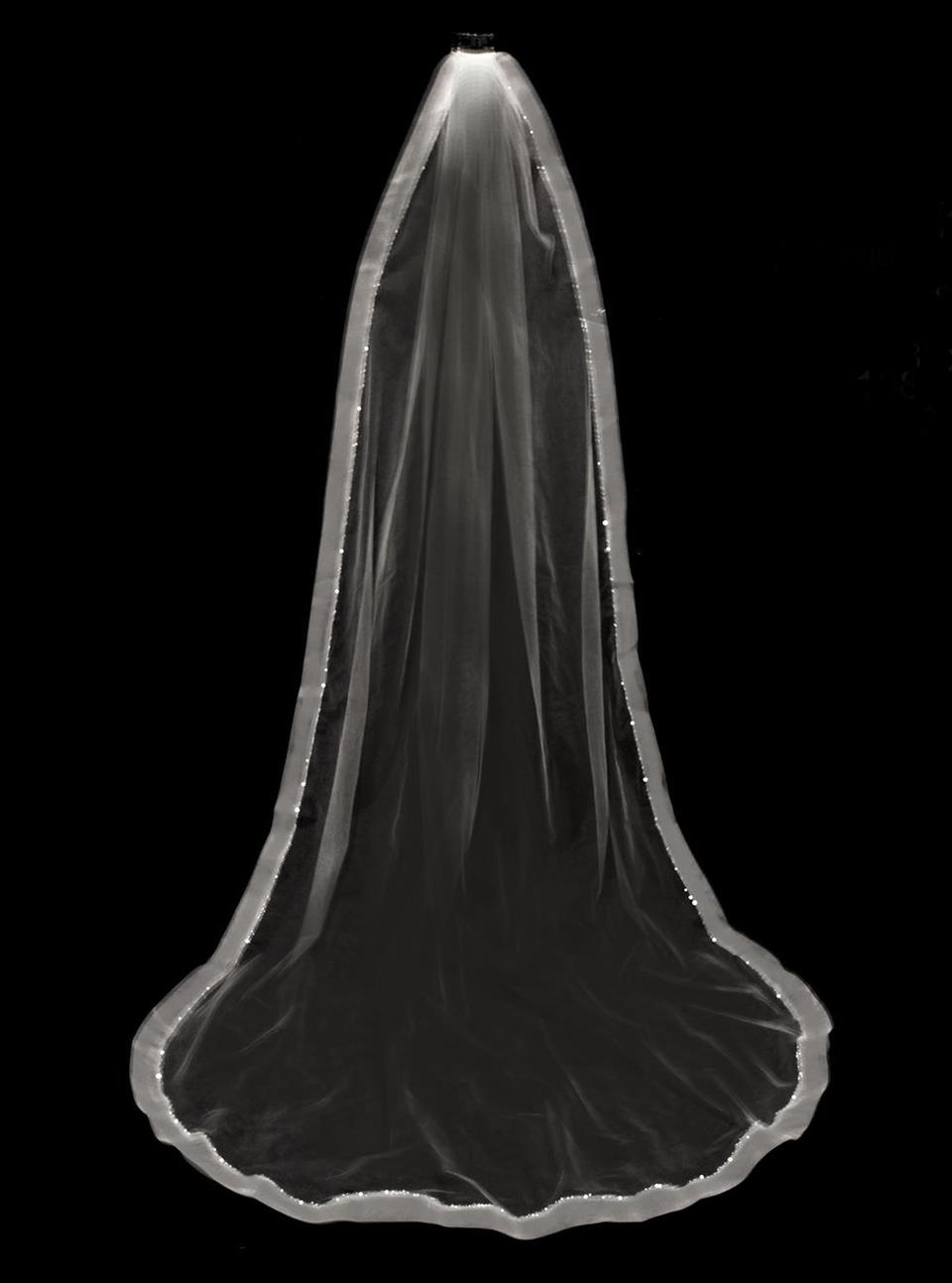 "Crystal Beaded 2"" Horsehair Cathedral Wedding Veil V3198C"