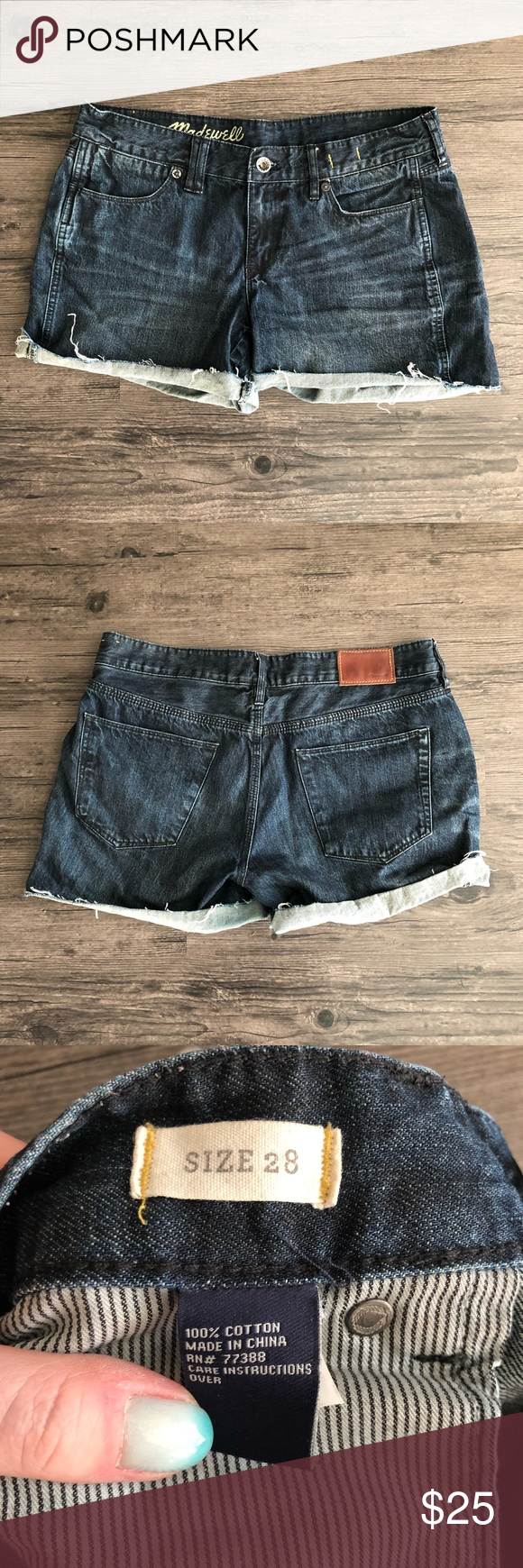 Madewell Denim Cutoff Shorts - 28 True to size, Madewell denim cutoff shorts in a dark wash. Lightly used and in great condition, no stains or holes. Madewell Shorts Jean Shorts #denimcutoffshorts