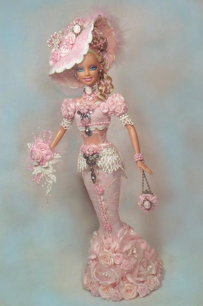 Barbie Victorian Bride 3 D Roses Gown Hat Cameo Pink Doll Altered OOAK Passion | eBay
