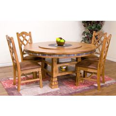 "Sedona 60"" Round Dining Table w Lazy Susan Sunny Designs"