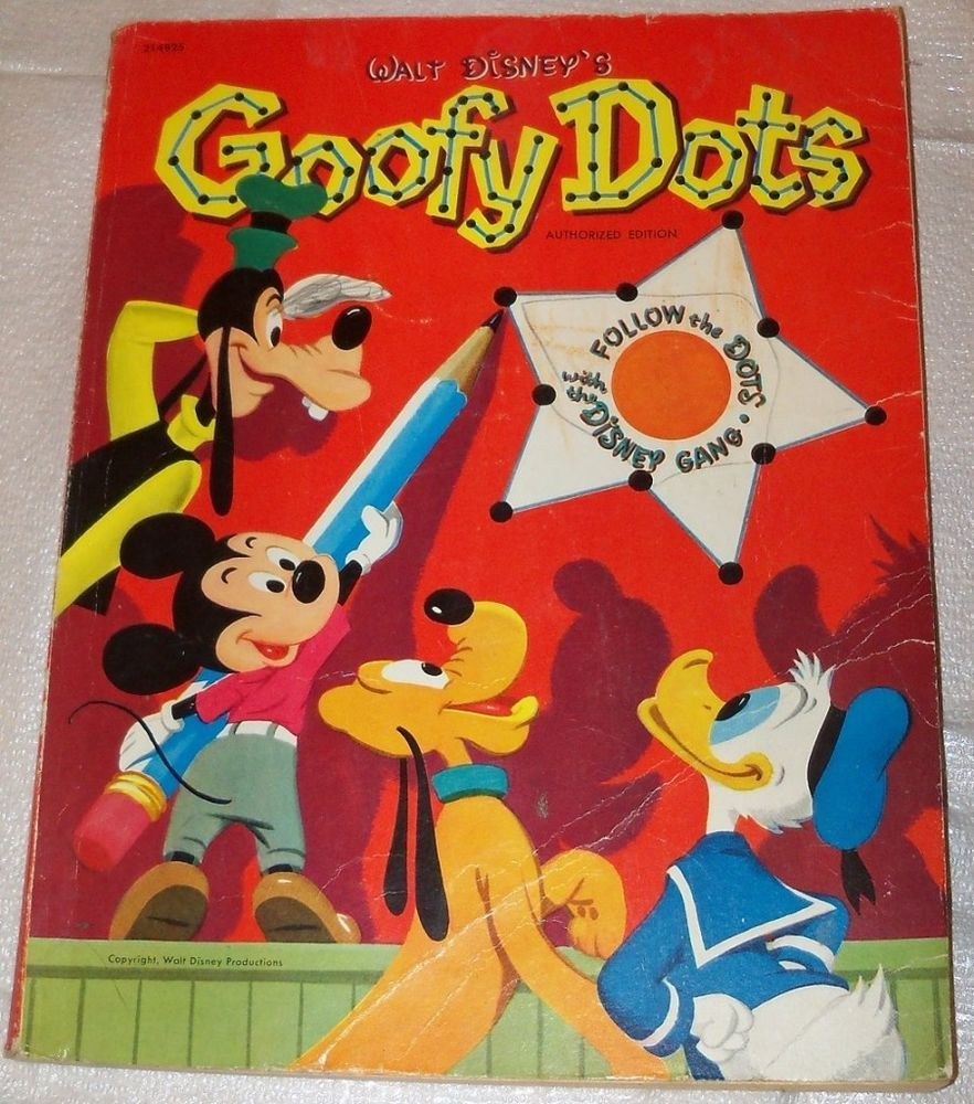 Vtg Walt Disneys GOOFY DOTS Illustrated Coloring Book Picture Childrens