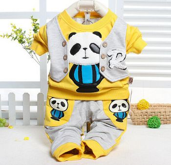 Children Winter Outwear Baby Suit Panda Cotton Winter Suit Gentle Vest Suit Outfits 2PCS Boys Sets FreeShipping