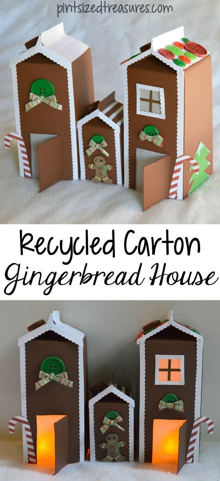 Easy paper gingerbread house made from recyclables! This paper gingerbread house uses milk or juice cartons and construction paper to create a fun gingerbread scene! Complete this Christmas craft with buttons, ribbons and tea lights to make an adorable winter scene.  #Christmascrafts #gingerbread #gingerbreadcrafts #actvities #wintercrafts #kids #Christmasdecor #easycrafts #kidscraft #pintsizedtreasures