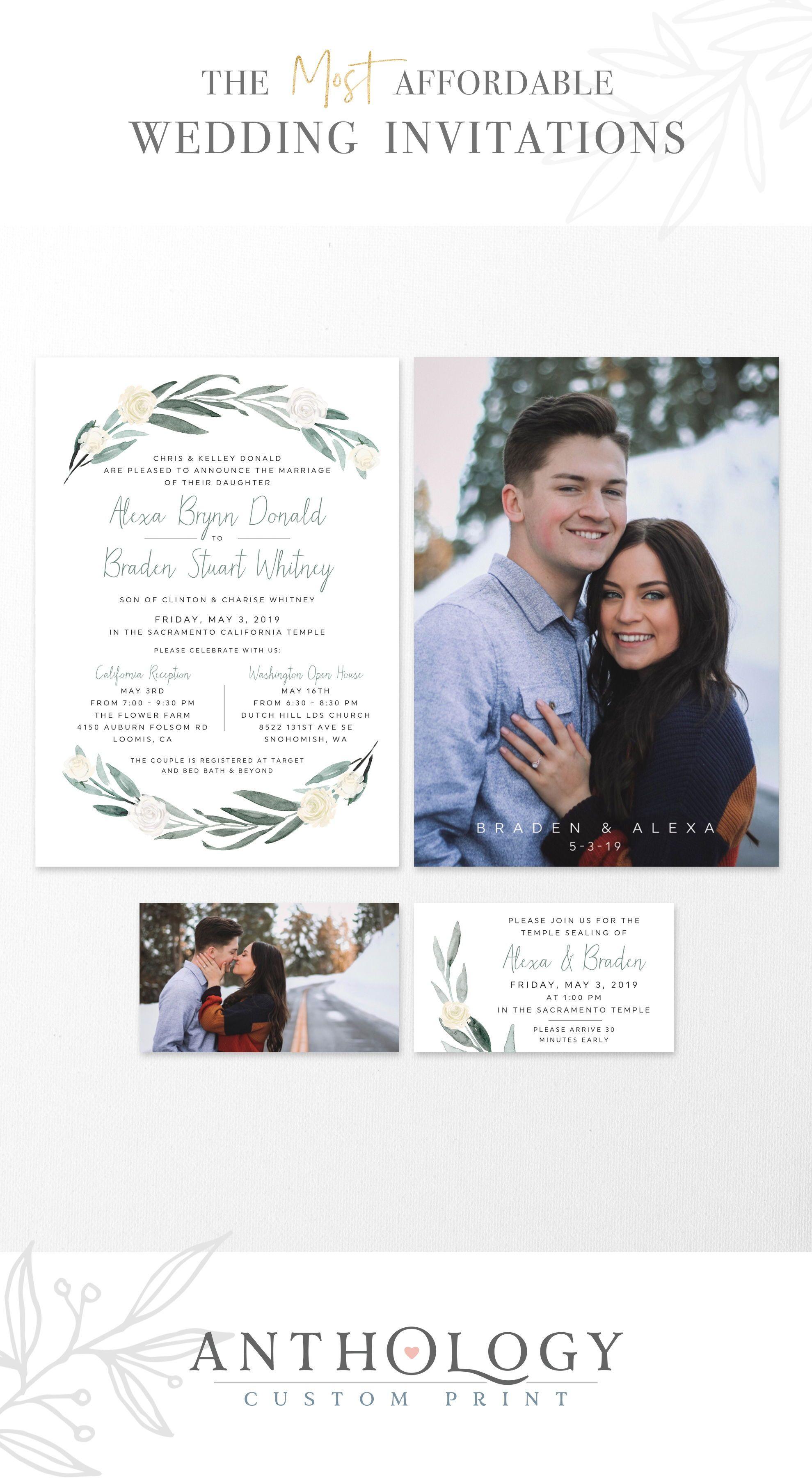 Watercolor Floral Wedding Invites Affordable Wedding Invitations