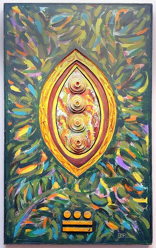 Plummer, Betty. Cosmic Yellow Seed (Mayan Glyph)  Media: Acrylic & Mixed Media. Price: $ 900.00. Show: Metamorphosis. Dates: October 3 - November 2, 2014. Curators: Kathy Turner, Betty Plummer. Judge: Elizabeth Ann Coleman. Location: Del Ray Artisans gallery at the Nicholas A. Colasanto Center, 2704 Mount Vernon Avenue, Alexandria, Virginia 22301.
