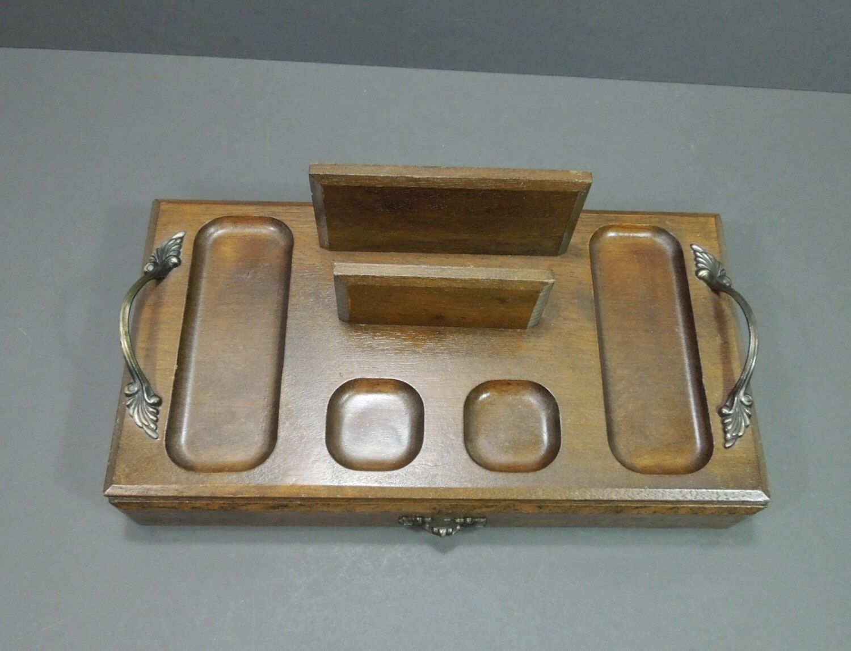 Wood organizer tray jewelry change organizer table top organizer