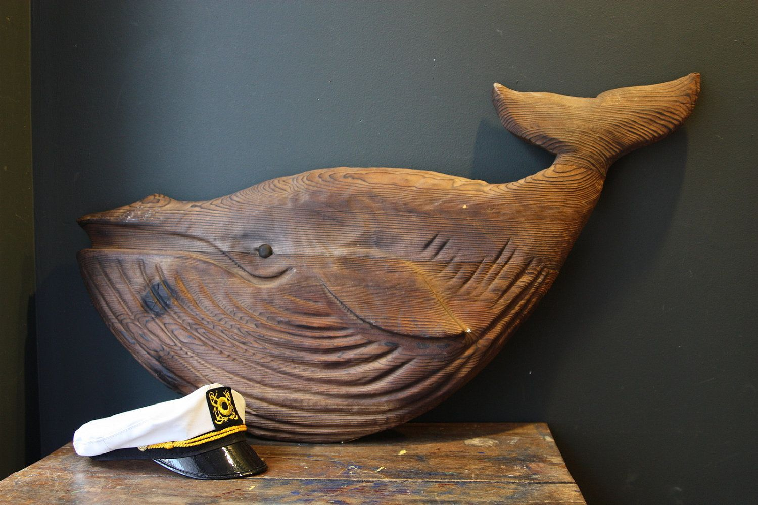 Folk Art Whale Vintage Large Wooden Whale Carving By