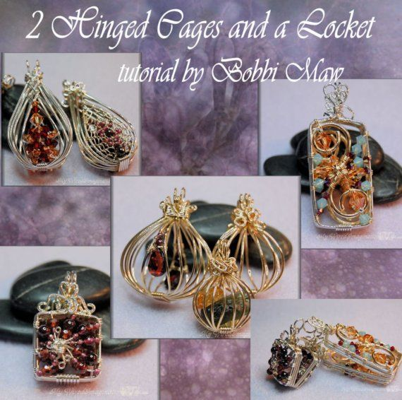 Wire Wrap Pendants Tutorial - 2 Hinged Cages and a Locket - Instant Download PDF File, Instructions