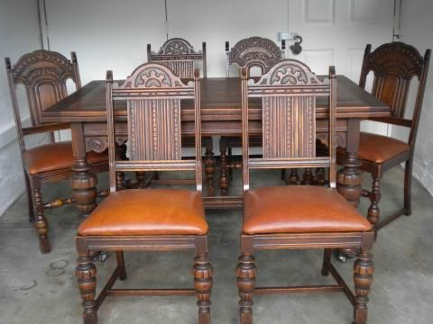 Antique English Oak Dining Table And 6 Chairs With Leather Bottoms Instappraisal Oak Dining Table Antique Dining Rooms Dining Table Chairs