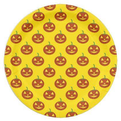 Pumpkin Halloween Paper Plate - halloween decor diy cyo personalize unique party