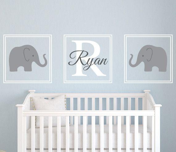 Baby Nursery Decor Three Pieces Elephants Baby Name Decals For - Nursery wall decals elephant