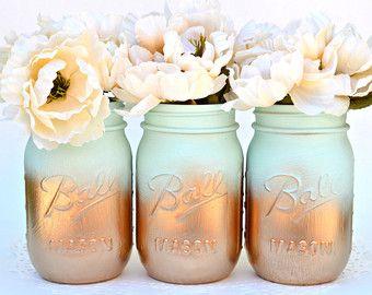 Mason Jars Bulk, Gold Mason Jars, Mint Decor, Painted Mason Jars, Dorm Decor, Spring Decor, Spring Centerpiece, Wedding Jars, Mason Jar Deco