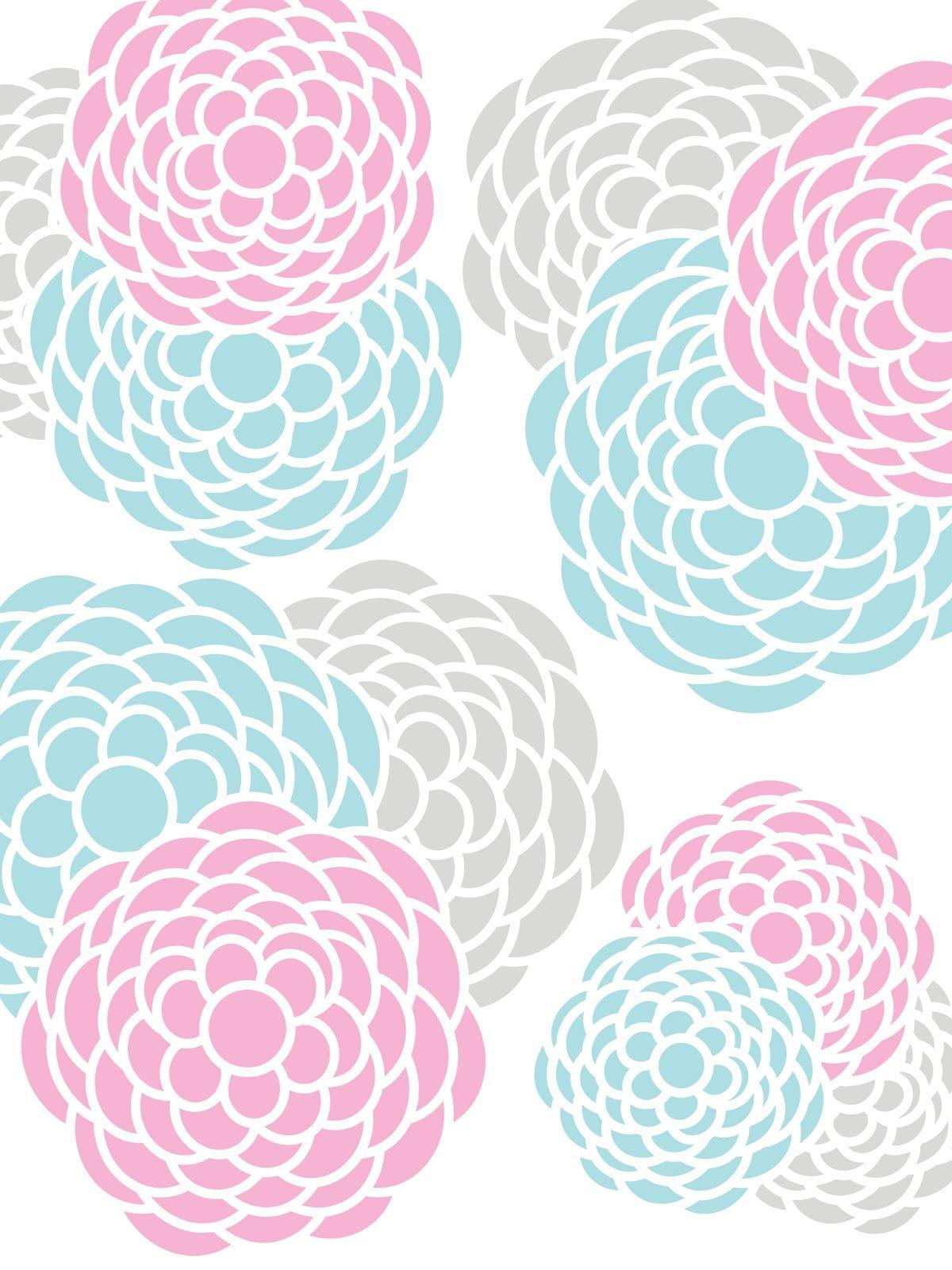 Create Printables Backgrounds Wallpapers Fl Print Aqua Pink Gray Yellow