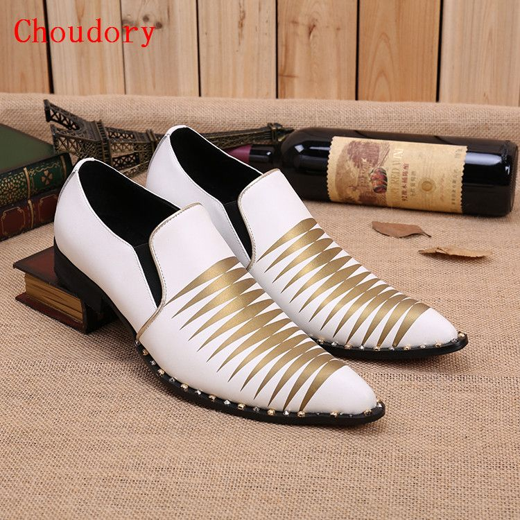 Men dress shoes white and gold