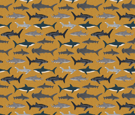 Colorful fabrics digitally printed by Spoonflower shark