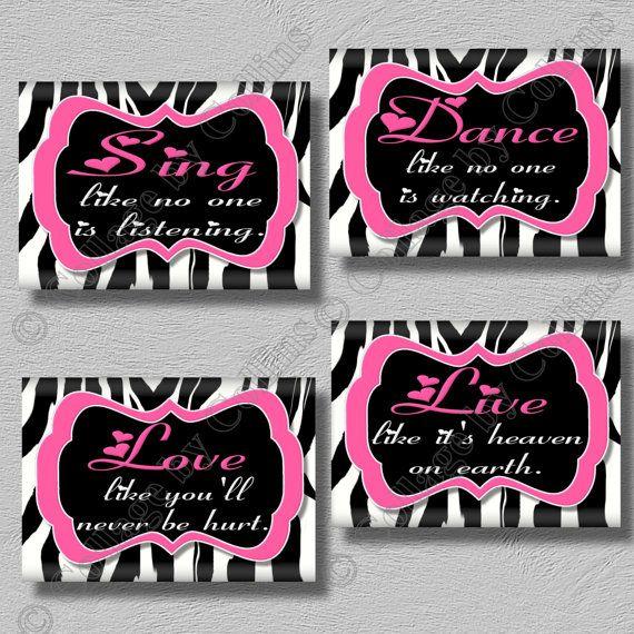 Zebra Print Wall Decor hot pink zebra print dance sing live love quote art girls room