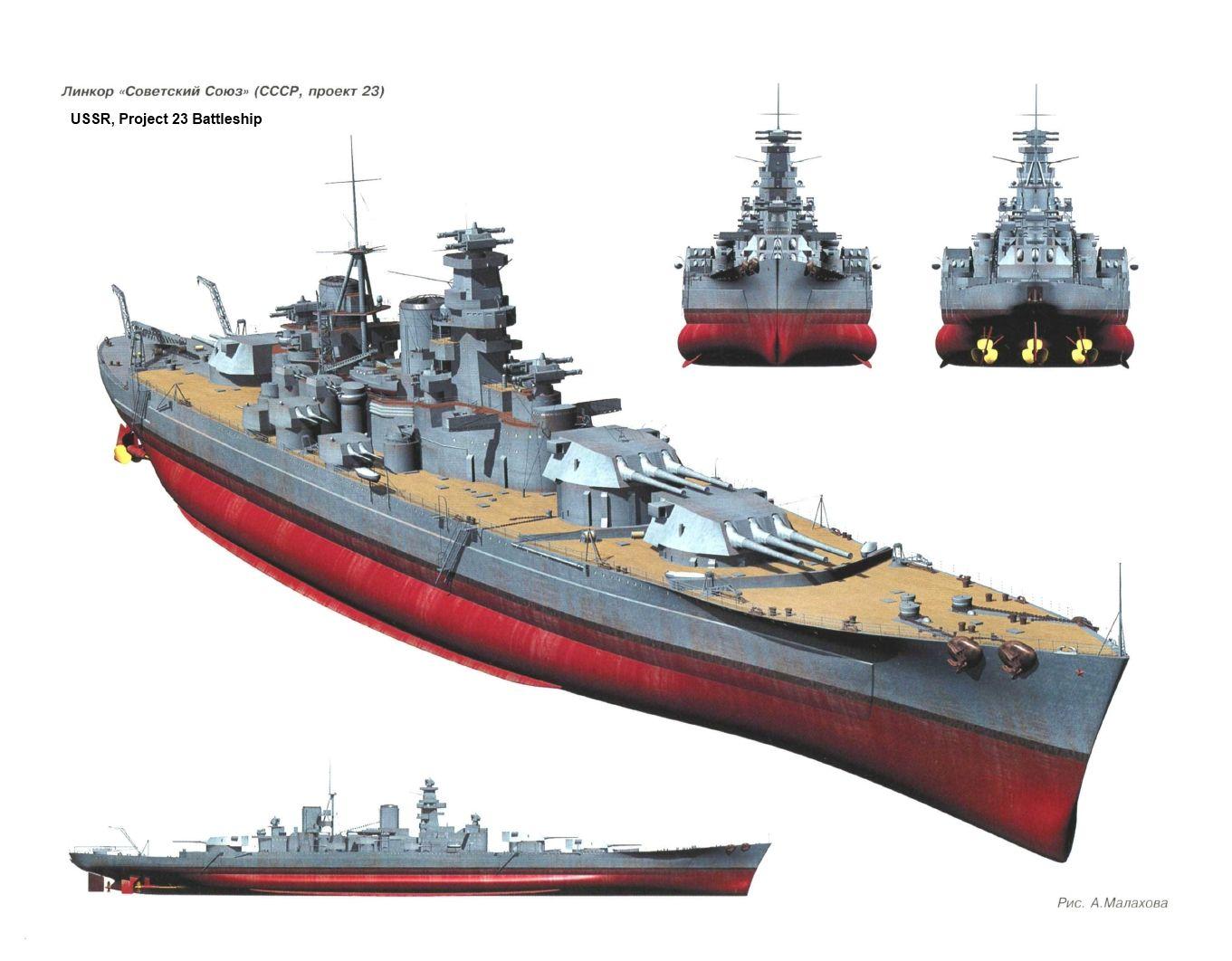 """Baseados vagamente na classe italiana Littorio, os Sovetsky Soyuzs deslocavam aproximadamente 60.000 toneladas, carregavam 9 canhões de 16"""" e fazia 28 nós."""