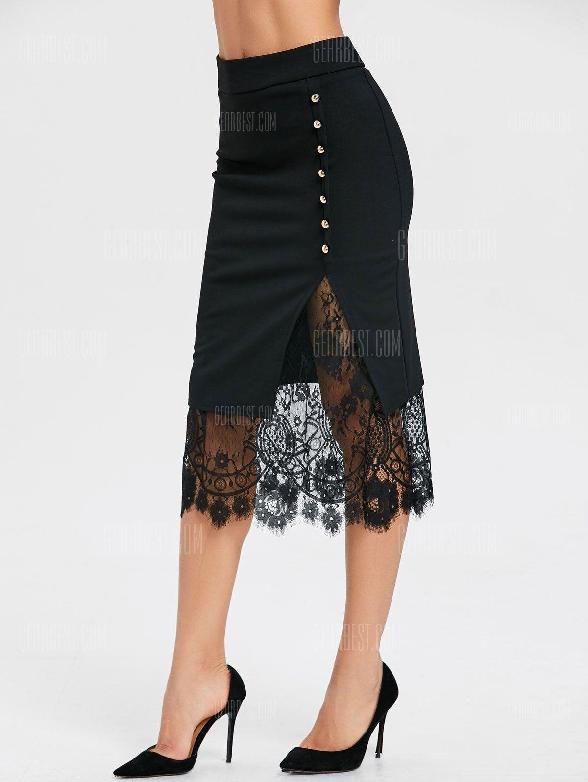 028875599e16f Oblique Button Midi Lace Slit Skirt in 2019
