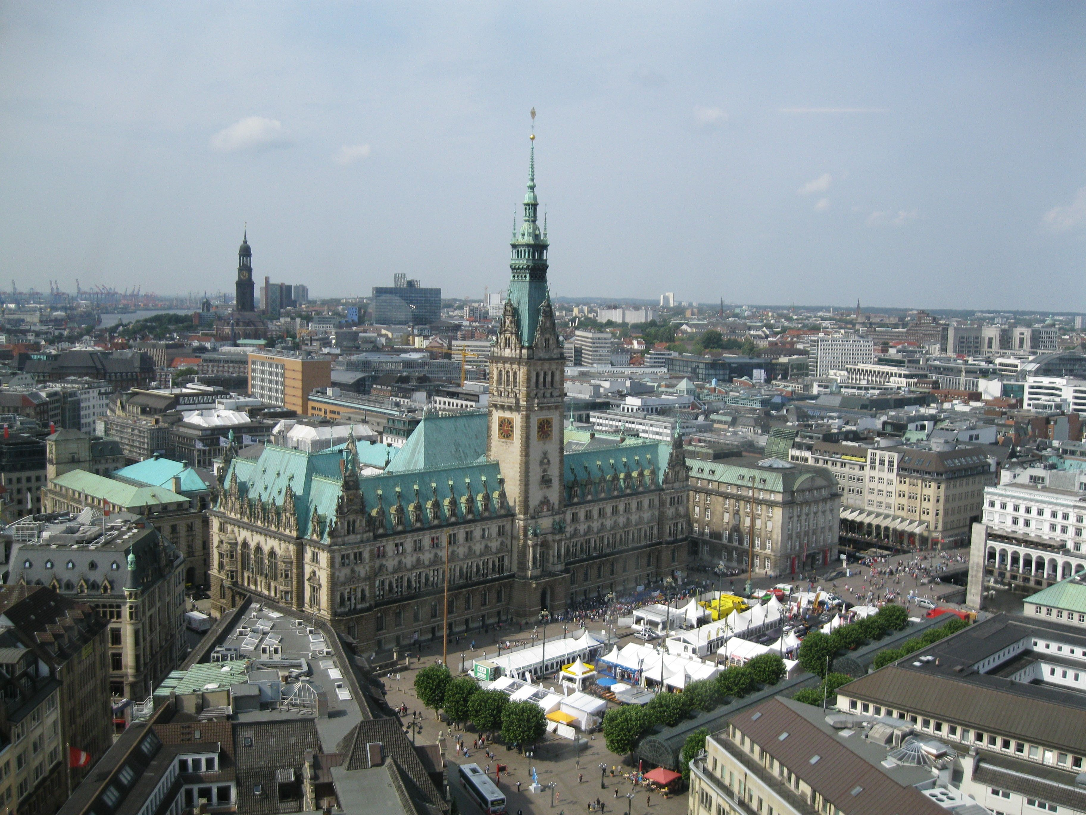 The hamburg rathaus is the rathausu2014the city hall or town hallu2014of the