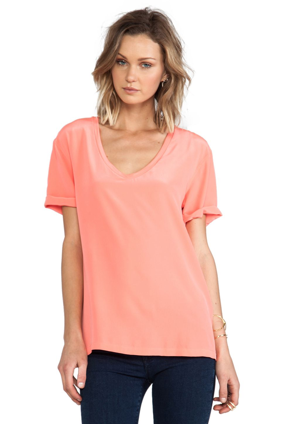 Equipment Cameron Tee in Neon Orange from REVOLVEclothing