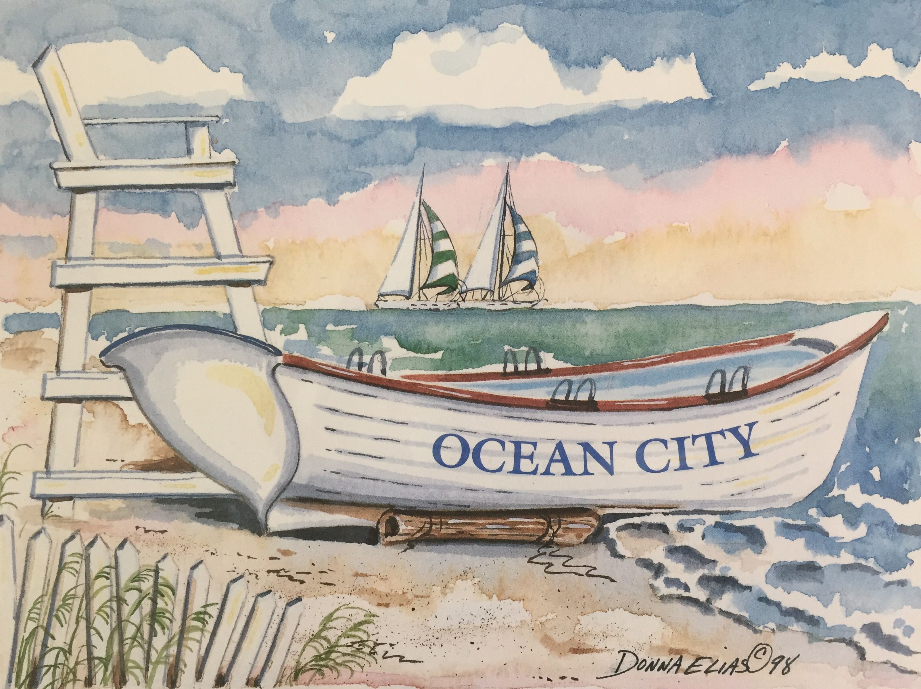 ae3207cd55e2 Watercolor painting ocean city beach lifeguard boat art jpg 3204x2398 Lifeguard  boat painting