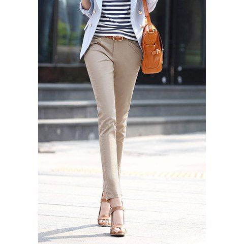 Graceful Slimming Solid Color Women's Pencil Pants, APRICOT, M in Pants & Shorts | DressLily.com