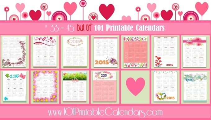 101 Printable Calendars - 101 Free Printable Calendars Instant