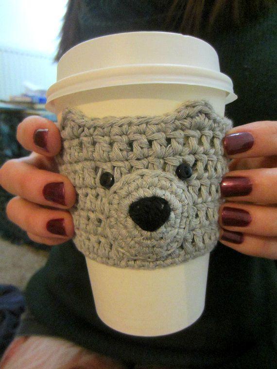 Gray Cup Cozy Bear Cup Cosy Secret Santa Mug Warmer Gift For Her Coffee Sleeve Mug Cosy Coffee Cup Sleeve Stocking Filler Cute Gift Coffee Cup Sleeves Cup Cozy Crochet Coffee