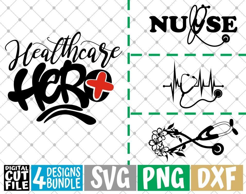 4x Healthcare Hero Designs Bundle svg Stethoscope svg