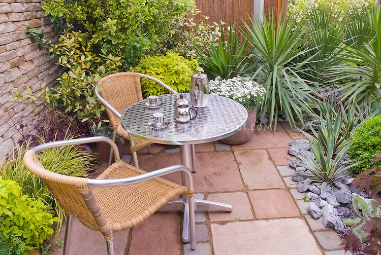 patio and garden furniture in small enclosed outdoor room with plants succulents shrubs - Garden Furniture For Small Gardens