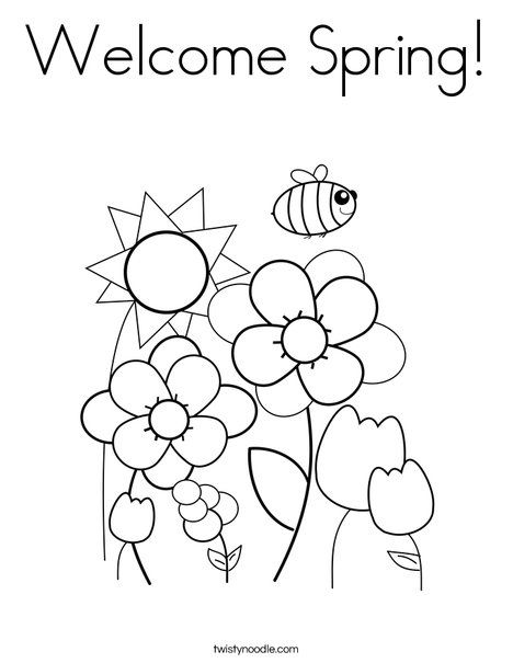 Welcome Spring Coloring Page With Images Spring Coloring Pages