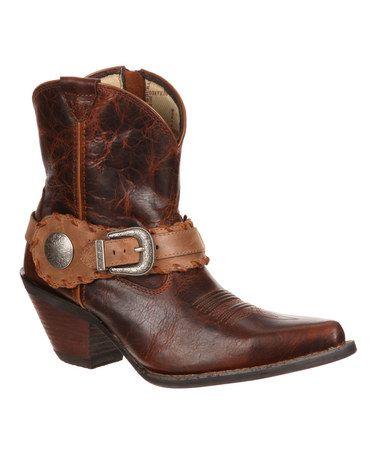 Another great find on #zulily! Dark Brown Ankle Embossed Buckle Western Boot - Women #zulilyfinds