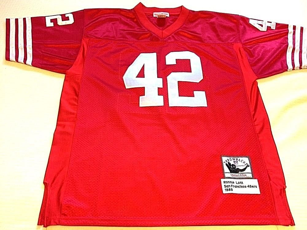 39b176477 ... Stitched Red Jersey Ronnie Lott (42) -SAN FRANCISCO 49ERS SIZE 50 Mitchell  Ness Jersey ...