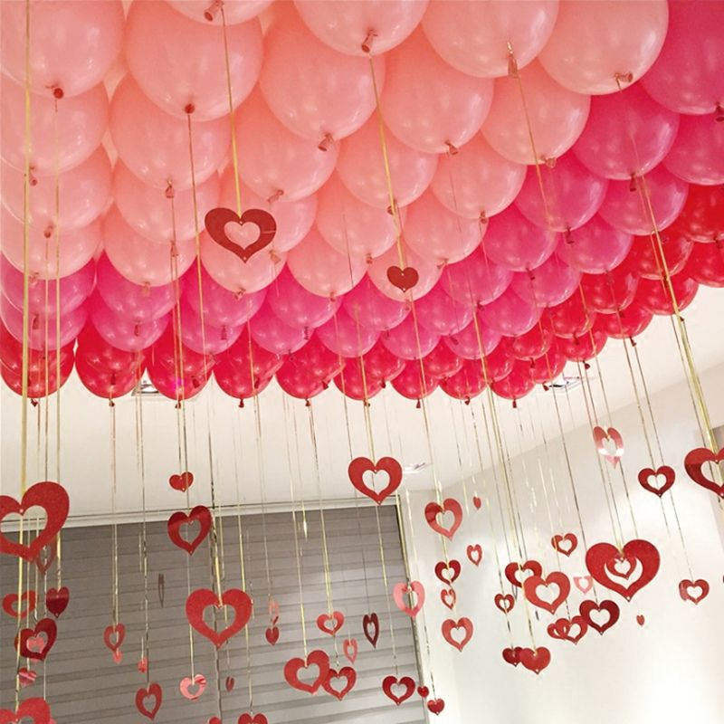 Look At Valentine S Day Balloon Decoration With Ribbons Balloon Decorations Birthday Party Decorations For Adults Birthday Balloon Decorations