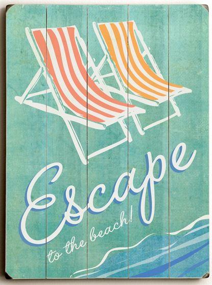 Wooden Beach Signs Decor Brilliant Escape To The Beach Custom Sign Custom Vintage Signs  Estilo Decorating Inspiration