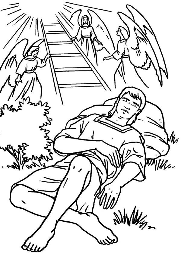 Jacobs Ladders and Angels in Jacob and Esau Coloring Page